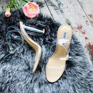 STEVE MADDEN CAMILLE clear heels Sz 7.5 women's